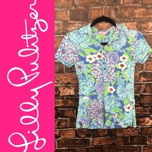 Lilly Pulitzer Blue Floral Polo